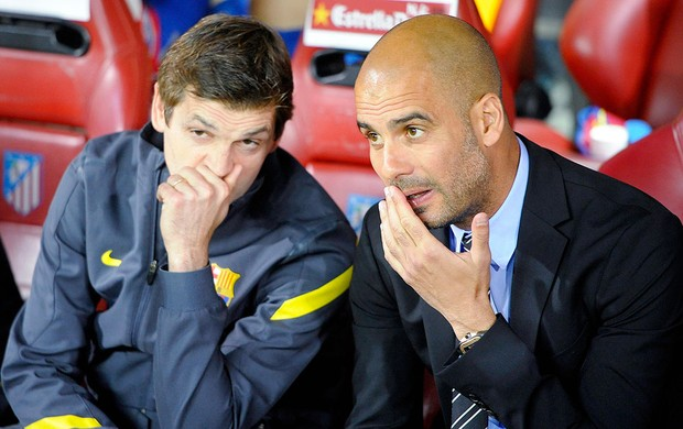 Pep Guardiola e  Tito Vilanova na final da Copa do Rei Barcelona Atlhetic Bilbao (Foto: Reuters)