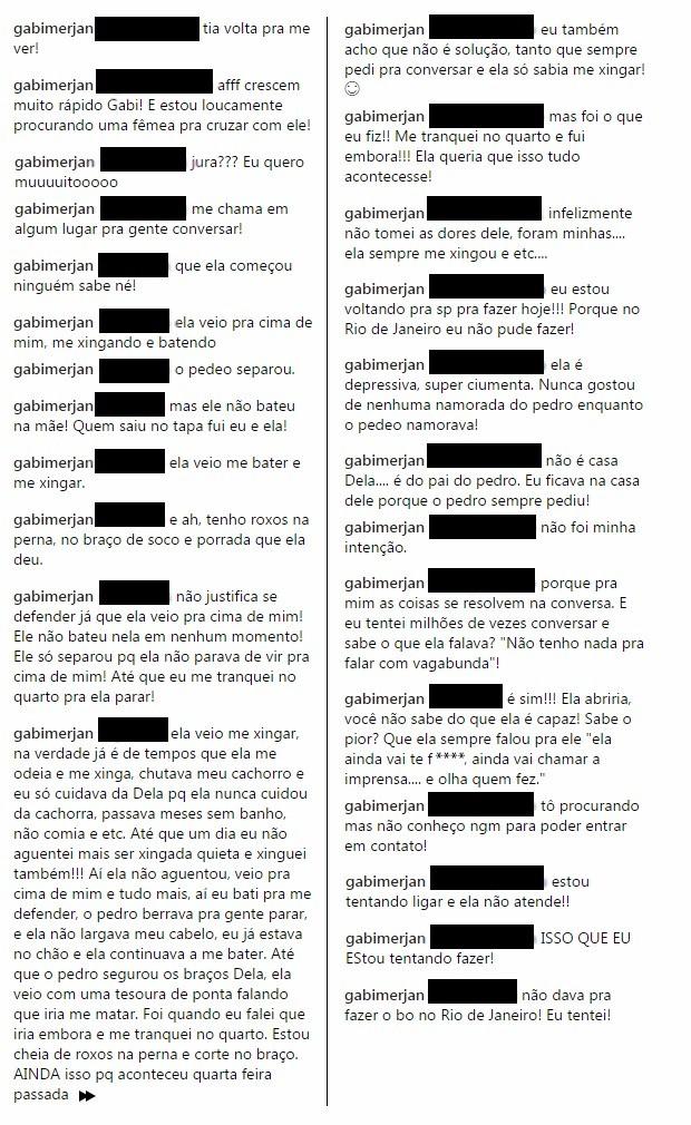Respostas de Gabriela Merjan aos seguidores (Foto: Reprodução/Instagram)