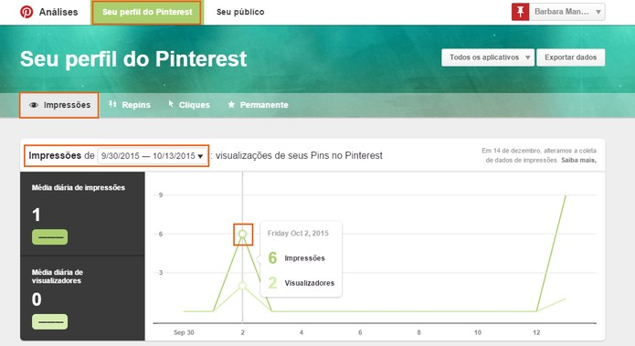 Confira as análises de impressões do seu perfil do Pinterest (Foto: Reprodução/Barbara Mannara)