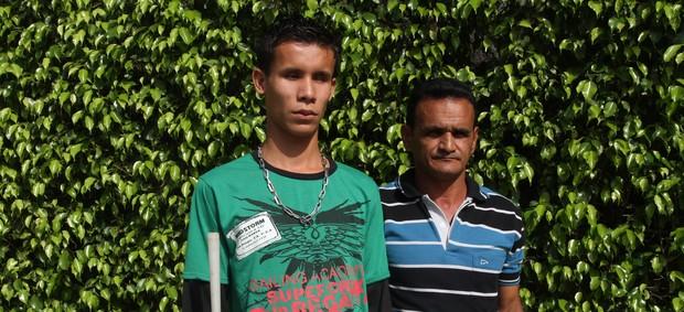 Bruno Costa e o treinador, Raimundo Lobo (Foto: Elielson Modesto / Jornal Amazônia)