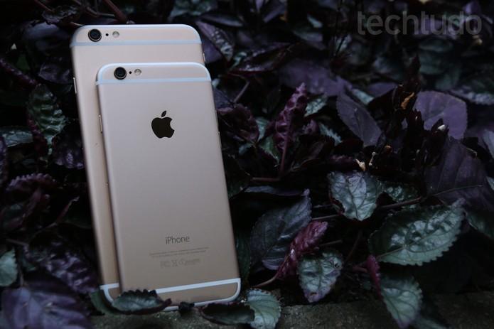 Comparação de tamanho entre iPhone 6 iPhone 6 Plus (Foto: Lucas Mendes/TechTudo)