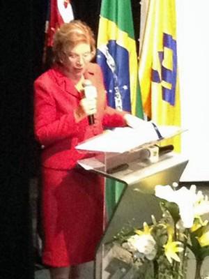 A ministra da Cultura Marta Suplicy discursa sobre vale-cultura durante evento em SP (Foto: Cauê Muraro/G1)