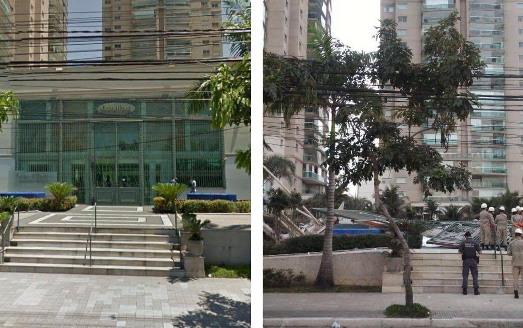 Antes e depois da área de lazer do Grand Parc Residencial Resort, na Enseada do Suá, em Vitória (Foto: Reprodução/ Whatsapp)