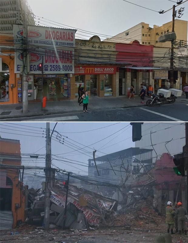 Imagens mostram o local da explosão em São Cristóvão antes e depois da explosão (Foto: Reprodução/GoogleStreetView e GloboNews)