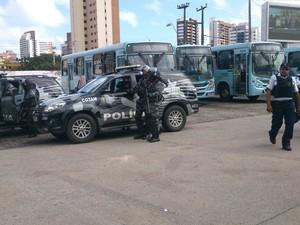 No terminal do Papicu, a Polícia Militar reforçou a segurança no local (Foto: Gioras Xerez/G1 Ceará)