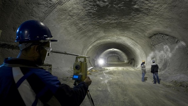 Obra de perfuração para construção dos túneis do Metrô de São Paulo (Foto: Divulgação/Mendes Junior)