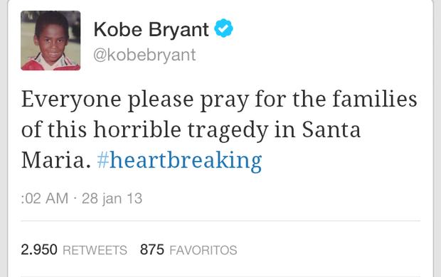 Mensagem de Kobe Bryant sobre a tragédia de Santa Maria (Foto: Reprodução Twitter)