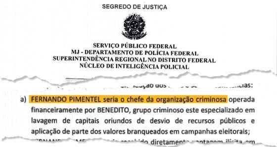 Documento de investigação da PF cita Fernando Pimentel  (Foto: Reprodução)