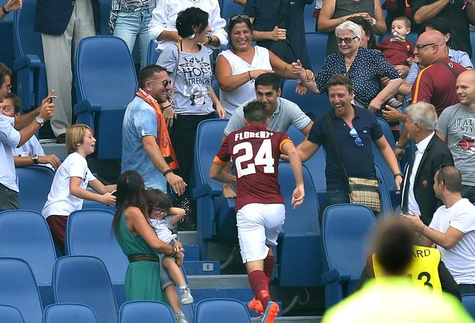 Alessandro Florenzi  comemora gol do Roma contra o Cagliari (Foto: Agência AFP )