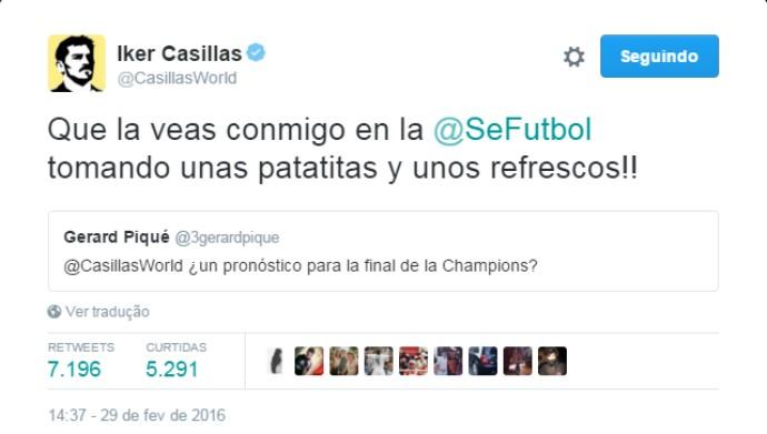 """BLOG: Piqué pede palpite de final da Champions a Casillas, que retruca: """"Que veja comigo"""""""