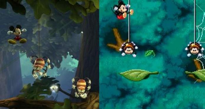 Castle of Illusion: Visuais 3D e jogabilidade principalmente 2D