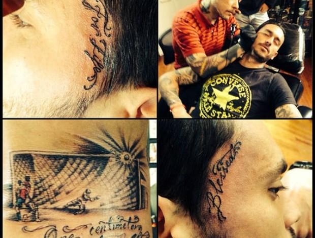 Pinilla tatua bola no travessão contra o Brasil