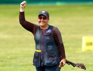 Kimberly Rhode comemora vitória no tiro ao prato (Foto: Reuters)