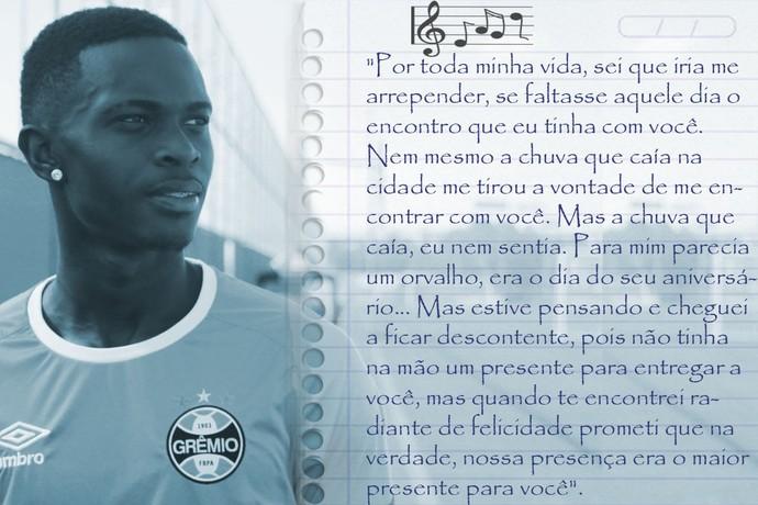 Música que Lincoln recebeu do pai (Foto: Arte sobre foto de Eduardo Moura / GloboEspporte.com)