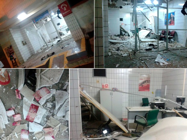 Agência do Brasdesco em Pendências foi alvo de quadrilha que usou dinamite para explodir arrombar os caixas (Foto: Francisco Coelho/Focoelho.com)