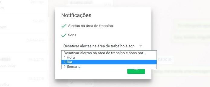 Caixa Desativar alertas na área de trabalho e sons por..., do WhatsApp Web, aberta (Foto: Reprodução/ Raquel Freire)