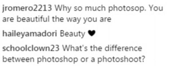 Uma crítica feita ao suposto uso de photoshop na foto de Mariah Carey (Foto: Instagram)