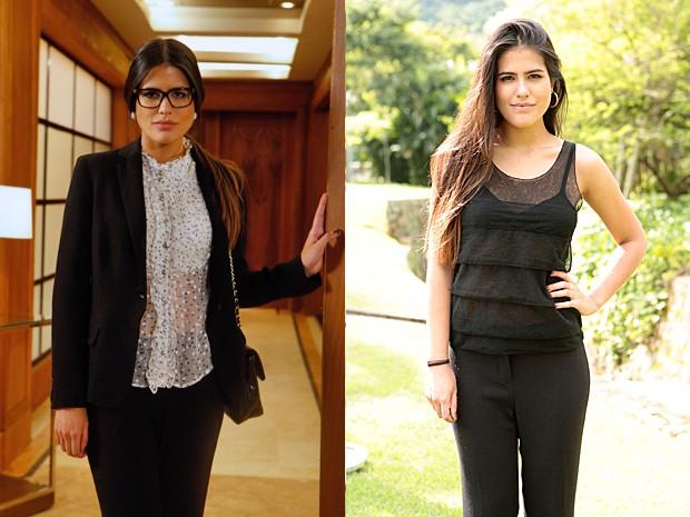 Isadora antes e agora: saem os blazers e entram roupas mais ousadas  (Foto: Guerra dos Sexos/TV Globo)