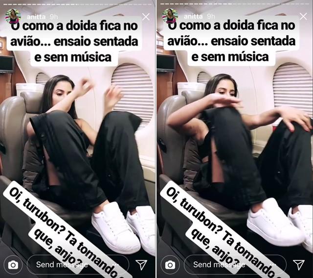 Anitta revelou que, durante os voos, ensaia as coreografias em silêncio e sentada (Foto: reprodução/instagram)
