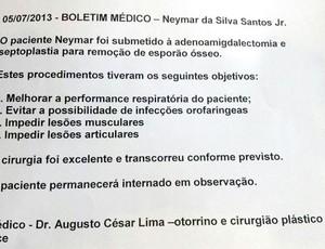 Boletim Médico cirurgia Neymar (Foto: Fred Huber)