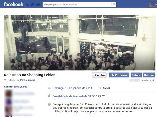 Convite para 'rolezinho' tinha mais de 5 mil pessoas confirmadas até as 18h30 desta segunda (Foto: Reprodução / Facebook)