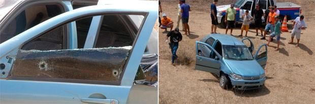 Corpos das vítimas foram encontrados dentro de um carro na entrada do município de Lagoa de Pedras, no RN (Foto: José Aldenir)