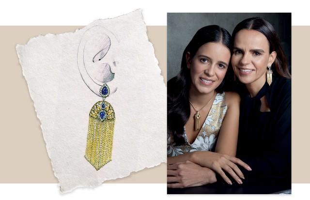 À esquerda, Julia usa o pingente original, desenhado por Marina Bulgari. Luciana exibe os novos brincos de ouro amarelo, diamantes e safiras (Foto: Rogério Cavalcanti)