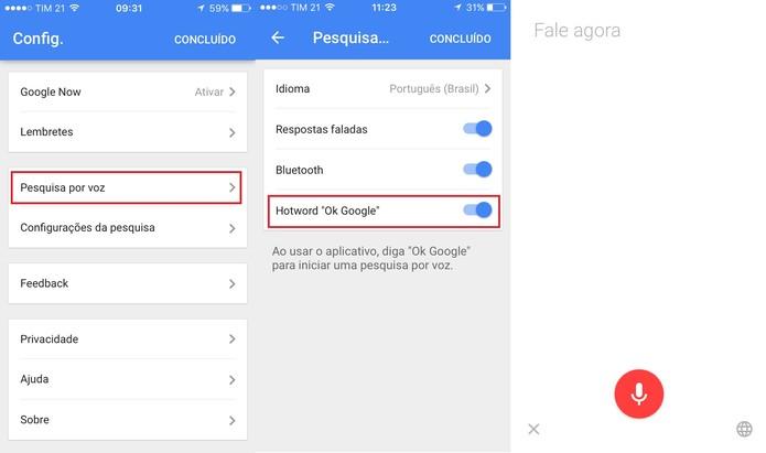 Ative o recurso Ok Google nas configurações do aplicativo (Foto: Reprodução/Juliana Pixinine)
