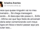 Ariadna reclama que convidados não vão a sua festa de aniversário