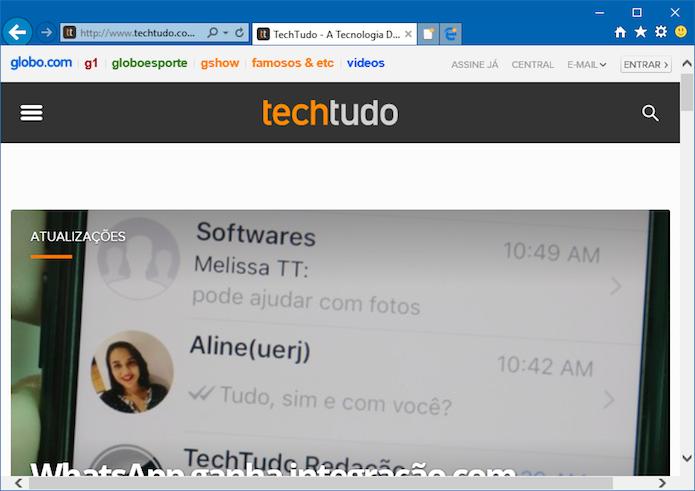 Abrindo site incompatível no Internet Explorer (Foto: Reprodução/Helito Bijora)