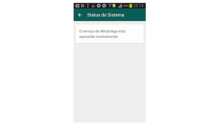 Status de funcionamento do WhatsApp no Android (Foto: Reprodução/Marvin Costa) (Foto: Status de funcionamento do WhatsApp no Android (Foto: Reprodução/Marvin Costa))