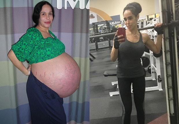 Nadya Suleman na reta final da gravidez, em 2009, e em setembro de 2016 (Foto: TMZ e Reprodução)