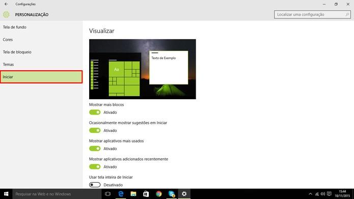Windows 10 tem diversas personalizações para o menu Iniciar (Foto: Reprodução/Elson de Souza)