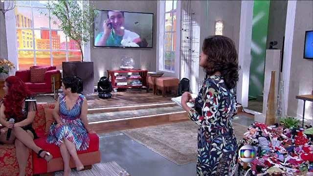 Bruno Gouveia com Letícia no colo (Foto: Encontro com Fátima/ TV Globo)