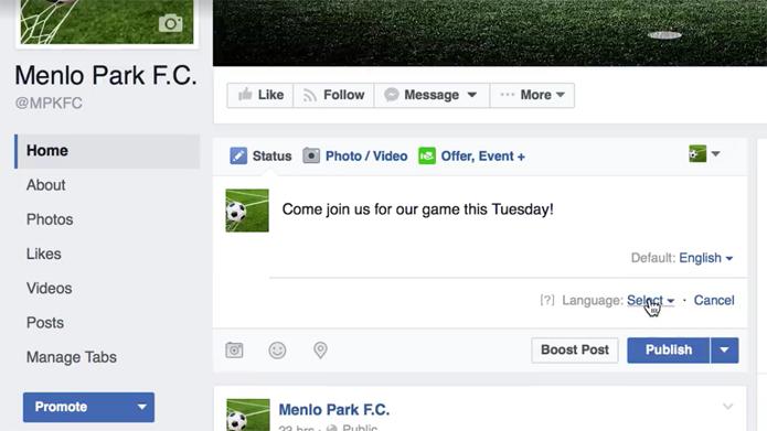Ferramenta do Facebook permite escrever o mesmo post em vários idiomas (Foto: Reprodução/Facebook)