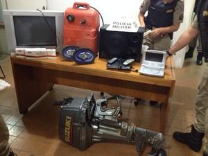 Materiais aprrendidos Operação Impacto Ibi´ (Foto: Polícia Militar/Divulgação)