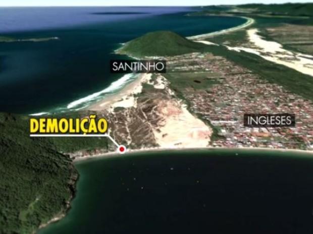 Demolições ocorrem no canto Sul da praia dos Ingleses (Foto: Reprodução/RBS TV)