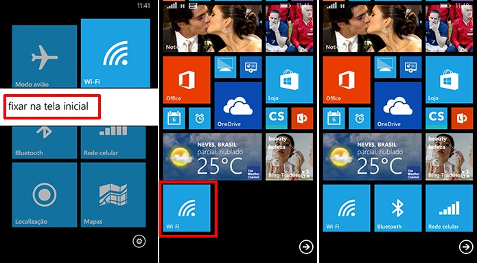 Use o Connectivity Tiles para fixar atalhos de Wi-Fi e Bluetooth na tela inicial do Windows Phone (Foto: Reprodução/Elson de Souza)