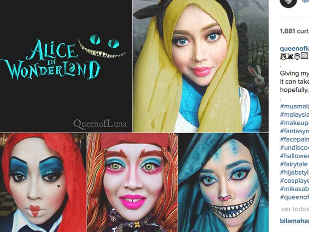 Saraswati caracterizada de personagens do filme 'Alice no país das Maravilhas,' de Tim Burton (Foto: Reprodução/Instagram/queenofluna)