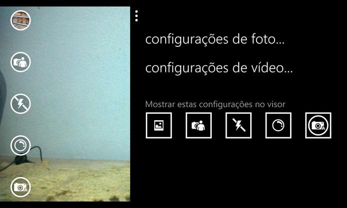 Windows Phone 8.1 mantém as configurações avançadas da câmera, mas com opção de alterar atalhos (Foto: Reprodução/Elson de Souza)