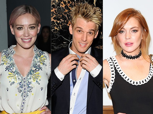 Hilary Duff, Aaron Carter e Lindsay Lohan (Foto: Getty Images)