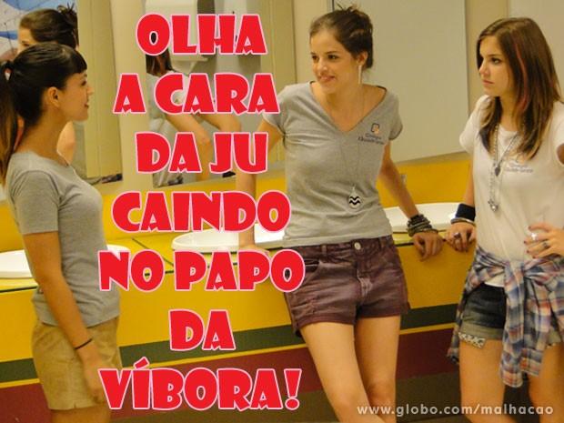 Cuidado, Ju! A Kika não é parceira não! A garota é mó víbora! (Foto: Malhação / Tv Globo)