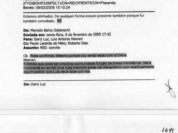 Em e-mail, Marcelo Odebrecht pede para que executivo procure Lula (Foto: Reprodução)