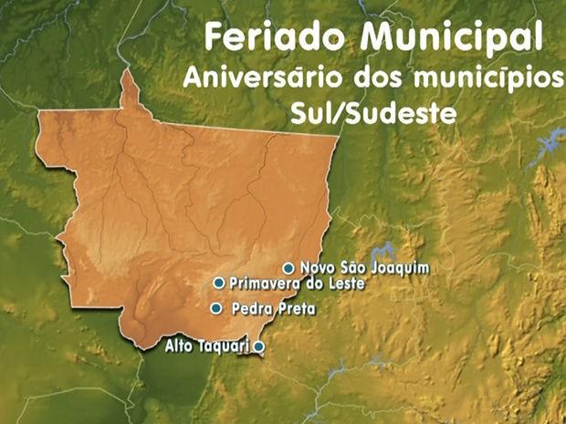 Municípios na região Sul/Sudeste de Mato Grosso que fazem aniversário nesta sexta-feira (Foto: Reprodução/TVCA)
