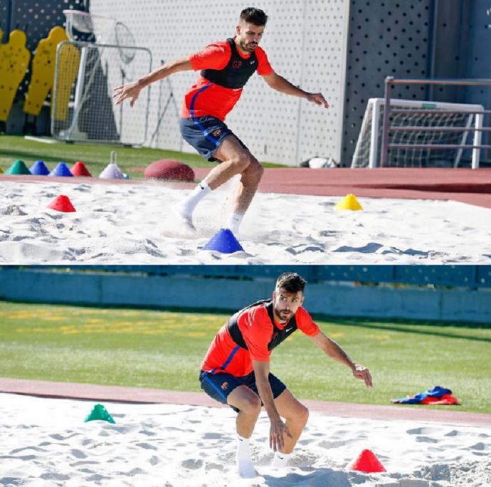 """BLOG: Recuperado de lesão no pé, Piqué retoma treinos e manda recado: """"Estou de volta"""""""