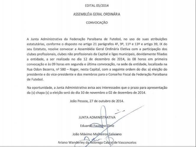 Edital, Federação PAraibana de Futebol, eleição (Foto: Reprodução / TV Cabo Branco)