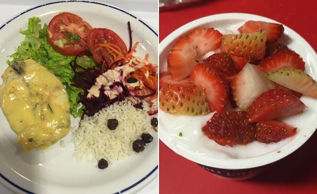 No almoço, arroz, peixe e salada; no lache, iogurte com morango: Jéssica passou a comer de 3 em 3 horas (Foto: Jéssica Monteiro/Arquivo pessoal)