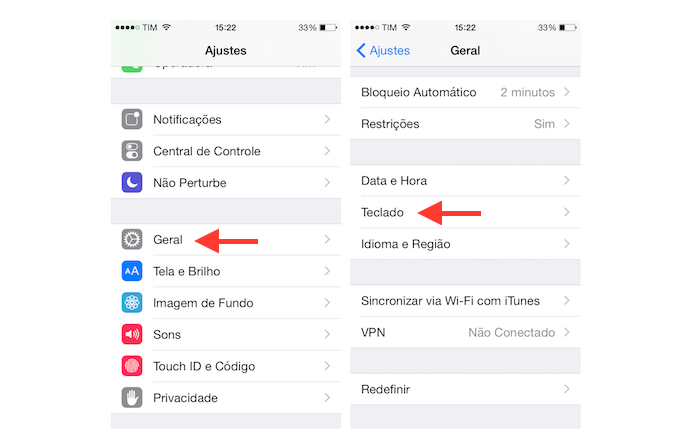 Acessando as configurações de teclado do iOS para ativar o Emoji Keyboard By LINE (Foto: Reprodução/Marvin Costa)