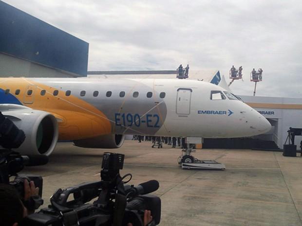 Embraer apresenta nova família de jatos comerciais em São José, SP (Foto: Poliana Casemiro/ G1)
