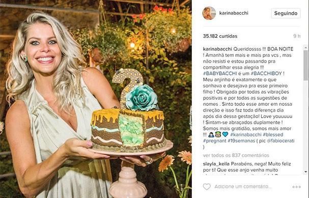 karina Bacchi fala sobre o sexo de seu bebê (Foto: Reprodução/Instagram)